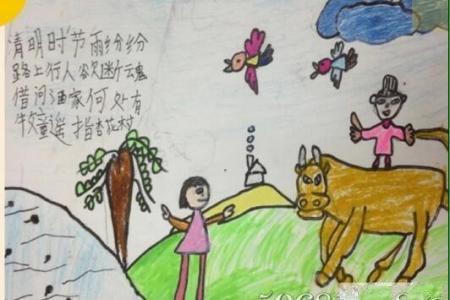 天青欲雨清明节小学生绘画图片欣赏