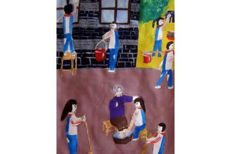 重阳节儿童画之打扫敬老院作品欣赏