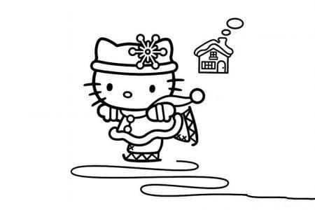滑雪的凯蒂猫简笔画