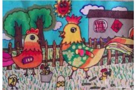 鸡年新年儿童图画作品