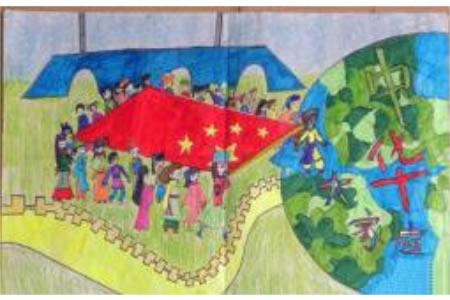 庆祝国庆节儿童画作品欣赏-中华民族一家亲