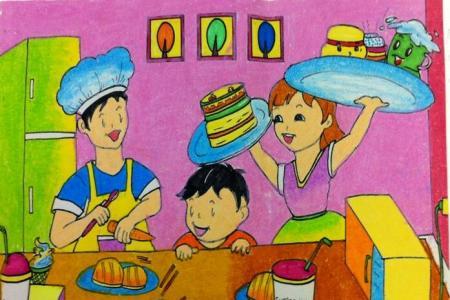 忙碌的一家人三年级五一劳动节画分享