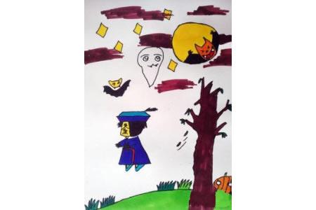 儿童画万圣节图片-万圣节的夜晚