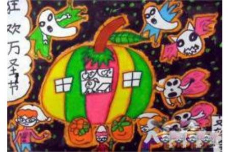 万圣节南瓜儿童画-狂欢万圣节