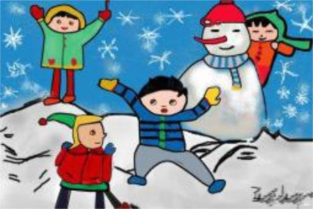 儿童画 和雪人一起玩耍