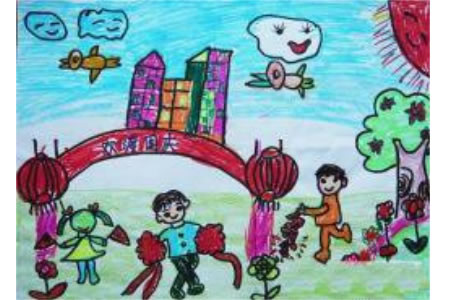 庆十一儿童画简单-欢度国庆
