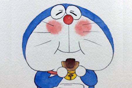 超爱的蓝胖子哆啦A梦水彩画