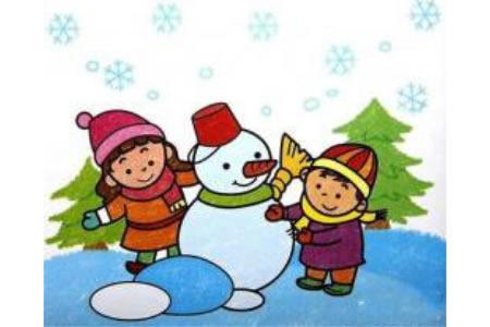 儿童堆雪人儿童画油画棒画作品