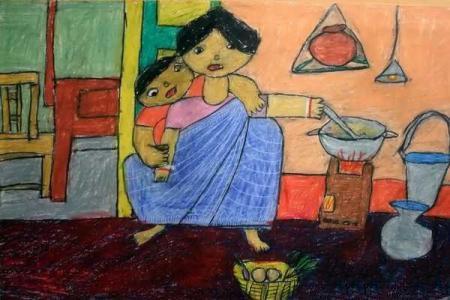 感恩节儿童画图片大全-感恩母亲的辛劳