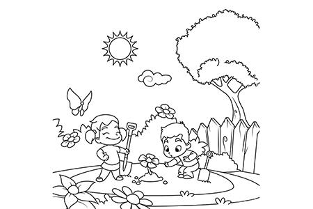 春天小朋友们在花园里种花