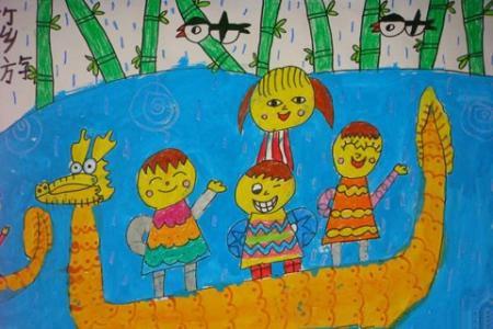 赛龙舟儿童水彩画图片大全