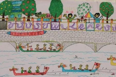 百舸争流端午节赛龙舟绘画图片欣赏
