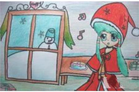 圣诞节儿童画 圣诞女孩