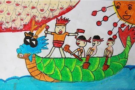 少年龙舟队端午节民俗画图片展示