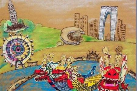 端午节赛龙舟儿童画-端午龙舟赛