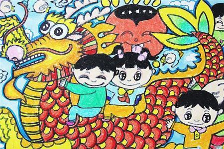 端午节赛龙舟儿童画-happy端午节