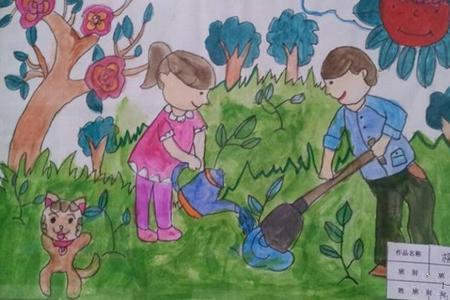 种树栽花乐趣多51劳动节主题画作品分享