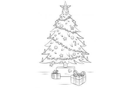如何画圣诞树