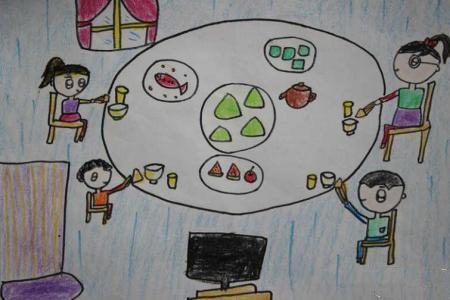 端午节儿童画 和家人吃粽子