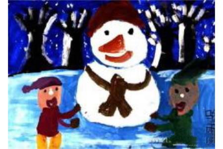 儿童画冬天的图画-我们和小雪人在一起