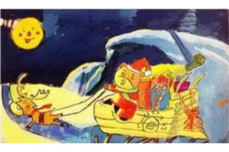 圣诞节儿童画 圣诞小熊