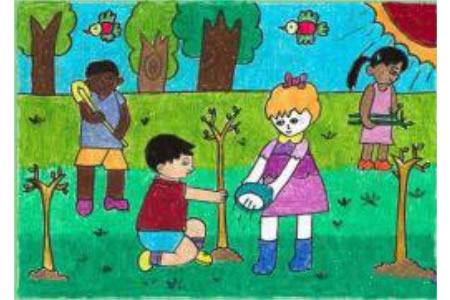植树节儿童画图片-全世界共同的节日