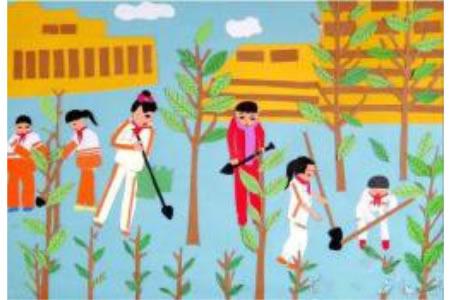 小树与我们共成长植树节粘贴画作品欣赏