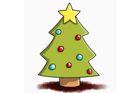 简单可爱的圣诞树怎么画