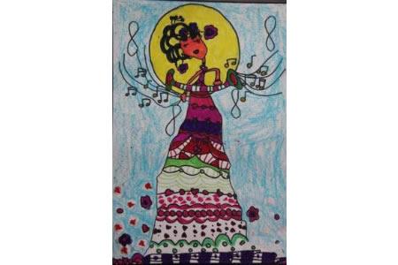 中秋节为主题儿童画-嫦娥跳舞