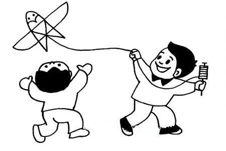 清明节习俗简笔画 放风筝