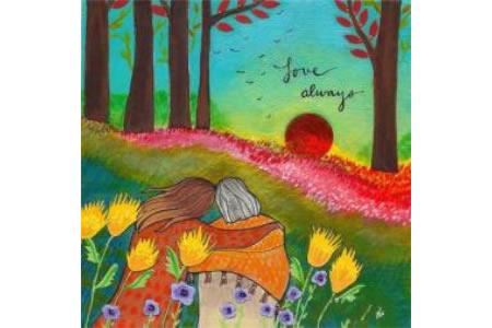 欣赏夕阳的母女俩妇女节儿童画教师范画