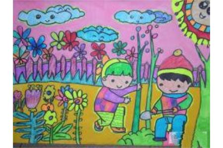 第一次种树记四年级植树节绘画图片欣赏