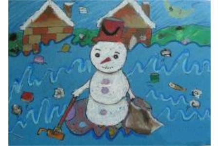 冬天的儿童画-雪人扫垃圾