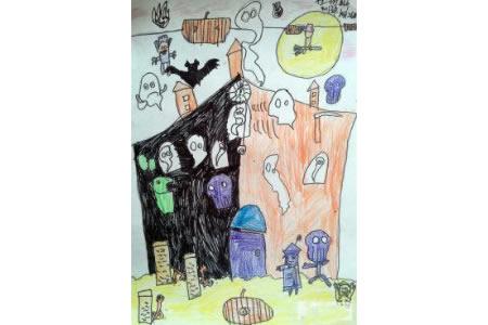 关于万圣节的儿童画-万圣节狂欢派对