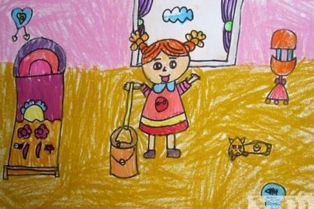 帮妈妈做卫生有关51劳动节的画作品分享