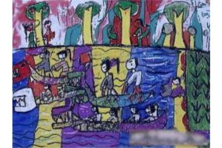 端午节儿童画 龙舟赛
