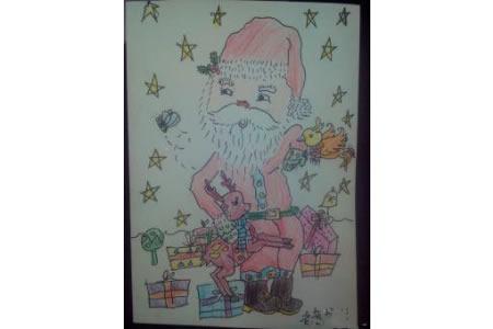 儿童画圣诞老人和驯鹿