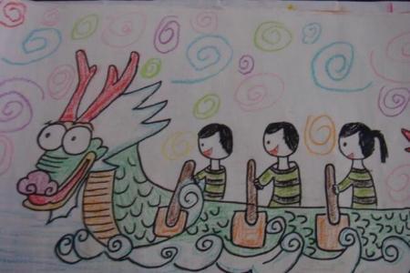 端午龙舟大赛关于端午节的彩铅画图片展示