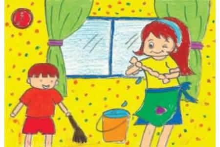 关于五一劳动节儿童画-和妈妈一起做家务