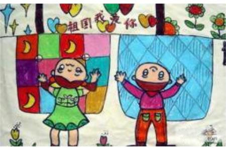 我爱祖国母亲,国庆节儿童绘画作品欣赏