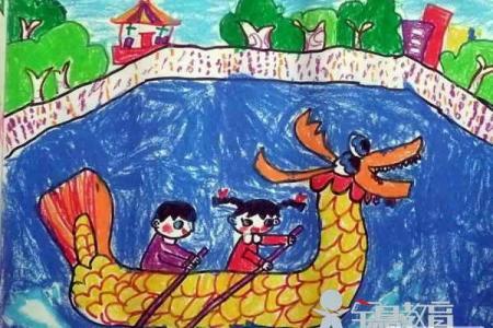 端午节儿童画图片-我和朋友划龙舟