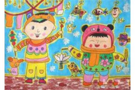 优秀的元宵节儿童画作品:热闹的元宵
