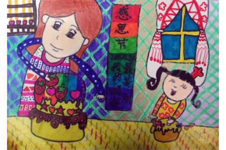 妈妈的爱-感恩节儿童画设计