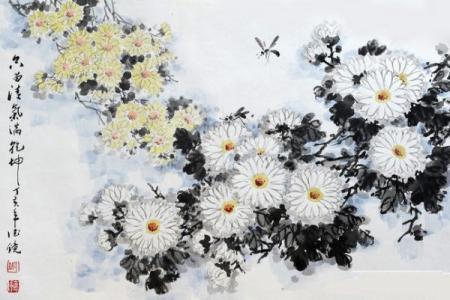 关于重阳节的儿童画-重阳赏菊