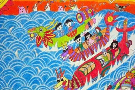 激烈的比赛端午节赛龙舟儿童画图片分享