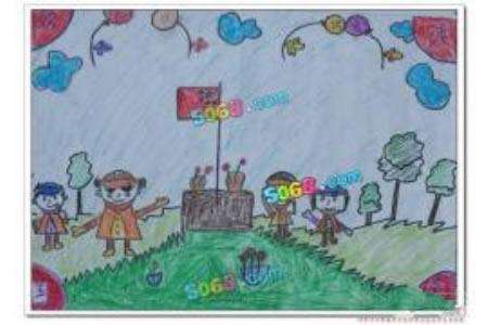 欢度国庆儿童画-红旗下的少先队员