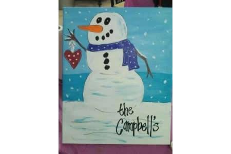 开心的雪人儿童水彩画作品在线看