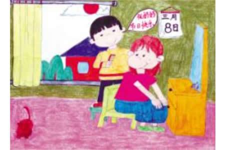 三八妇女节儿童画-我给妈妈梳头发