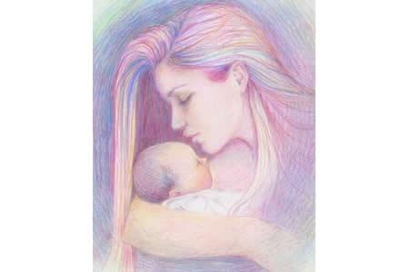 怀抱婴儿的妈妈妇女节儿童画教师范画