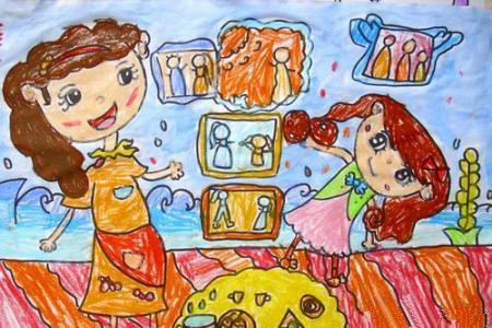 欢度新年儿童画-我和妈妈挂照片